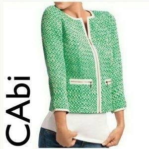 Cabi green & ivory tweed 3/4 sleeve blazer Sz. 2